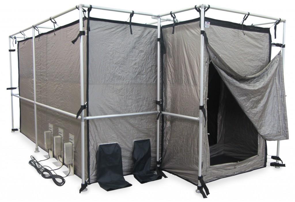 Faraday tent with external vestibule